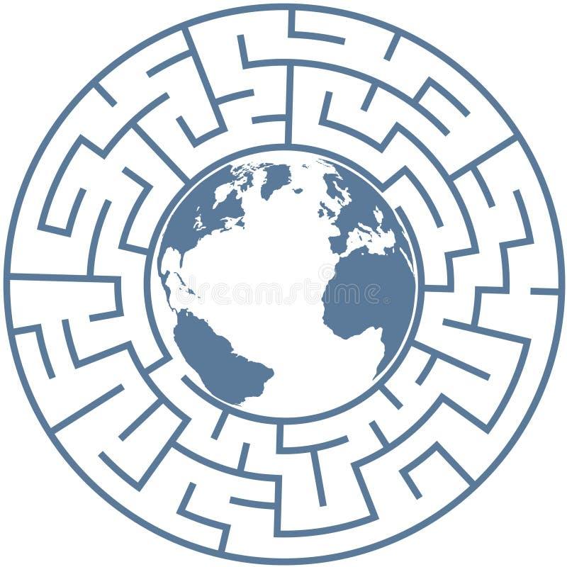 Tierra del planeta en rompecabezas radial del mundo del laberinto libre illustration
