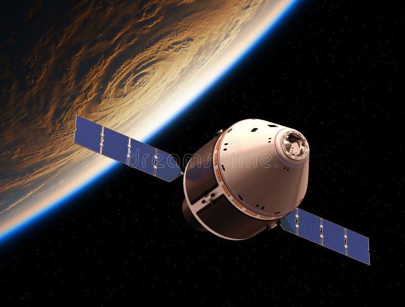 Tierra del planeta del equipo que está en órbita del vehículo americano de la exploración stock de ilustración
