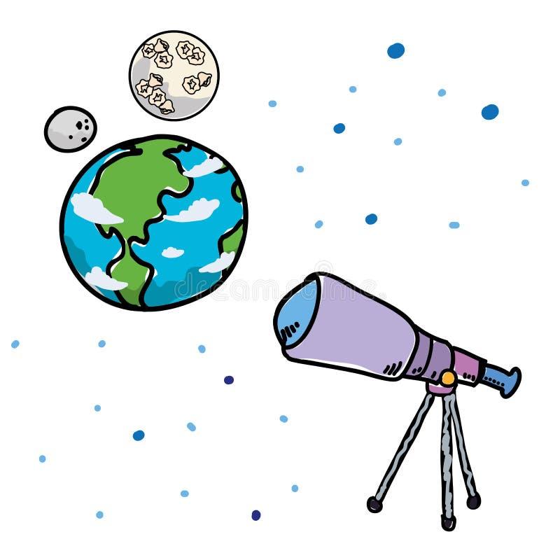 Tierra del planeta del mundo con la luna y el telescopio stock de ilustración