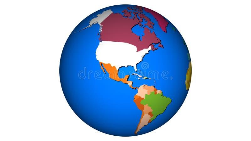 Tierra del planeta - mundo 002 de la esfera de los E.E.U.U. del mapa stock de ilustración