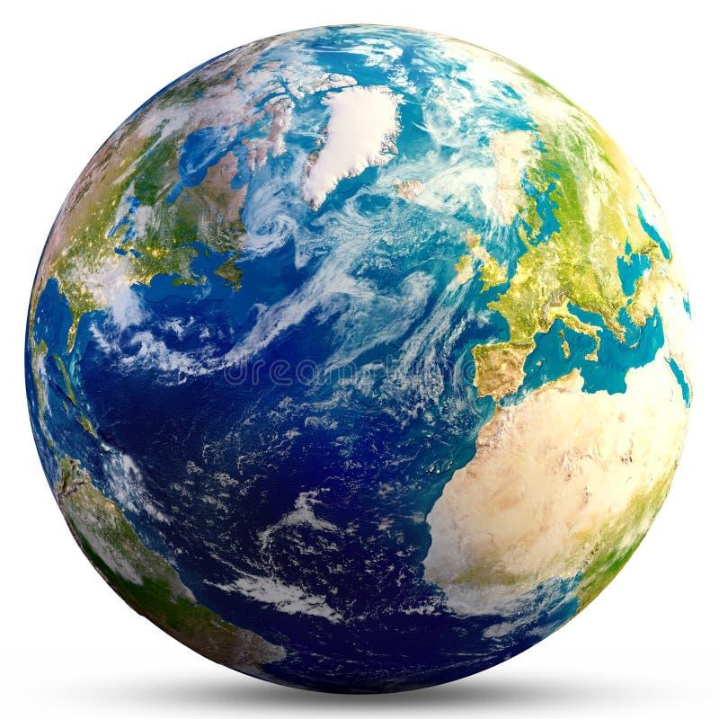 Tierra del planeta - representación atlántica 3d stock de ilustración