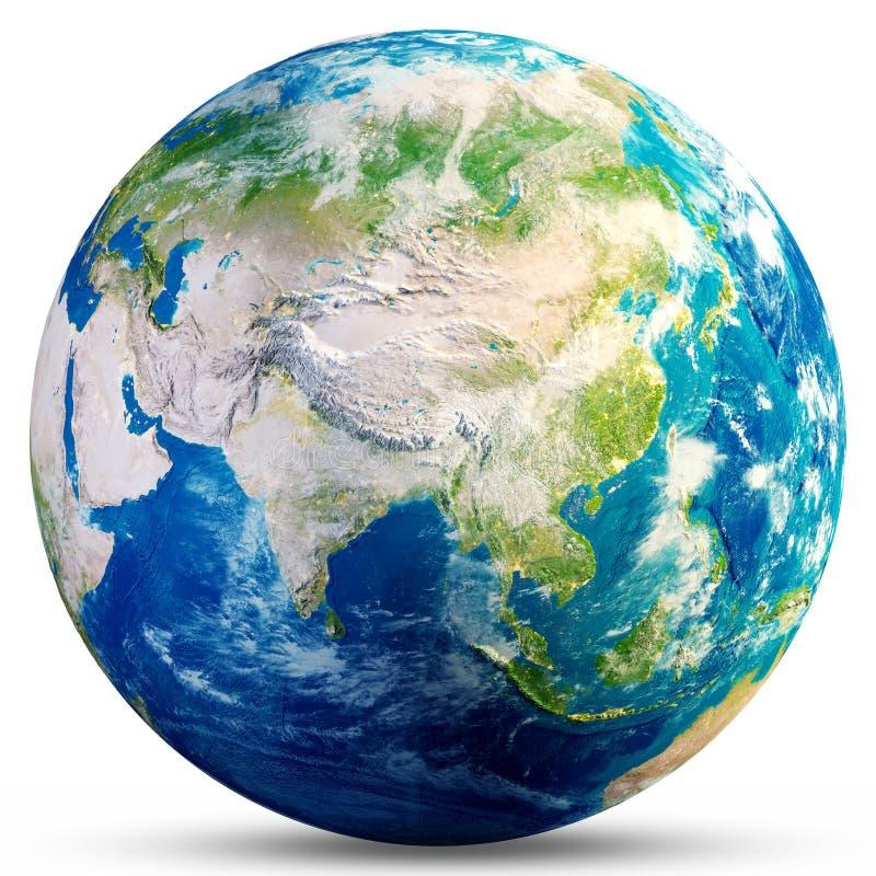 Tierra del planeta - representación de Asia 3d stock de ilustración