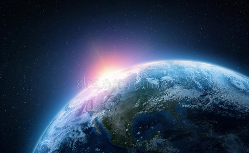 Tierra del planeta Visi?n desde la ?rbita del espacio Ilustraci?n fotorrealista foto de archivo libre de regalías