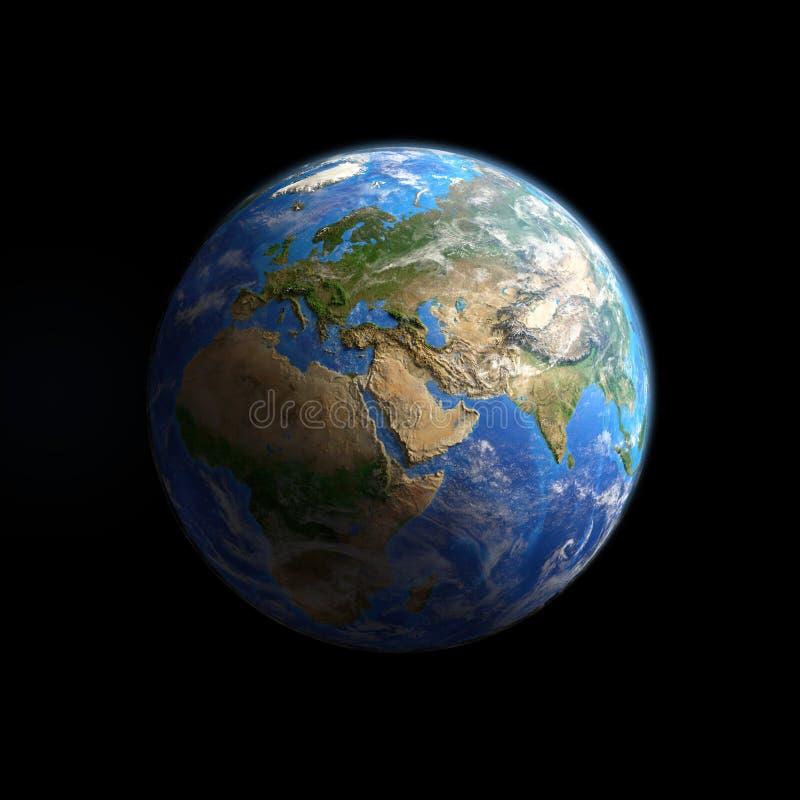 Tierra del planeta vista del espacio, aislado en negro stock de ilustración