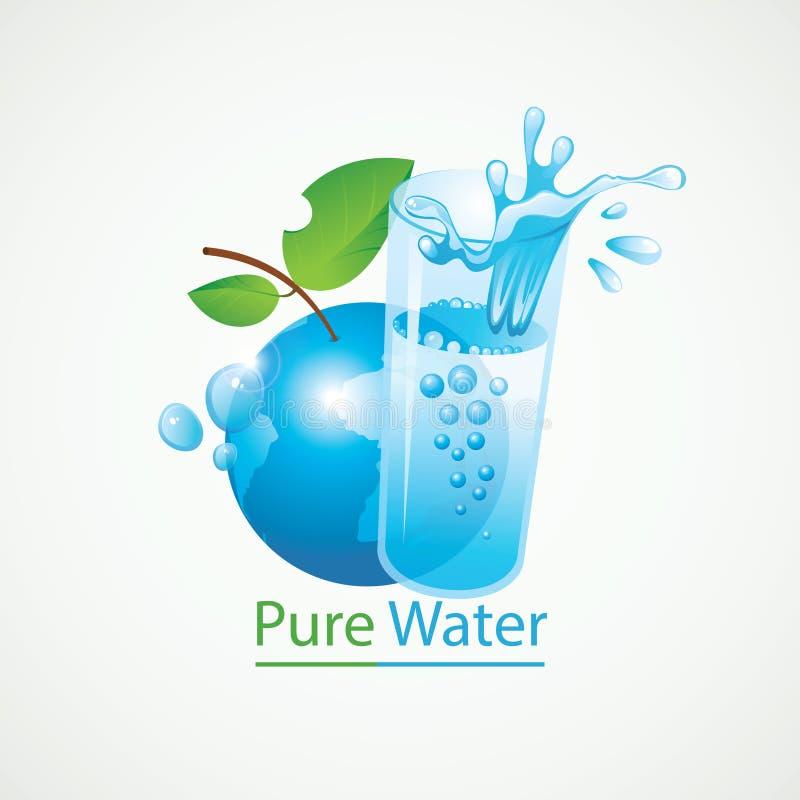 Tierra del planeta y un vidrio de agua potable stock de ilustración