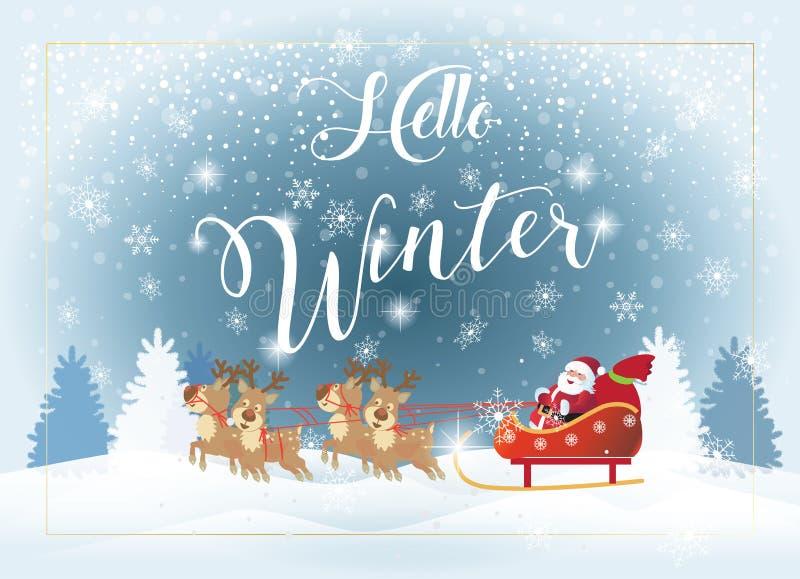 Tierra del reno de la Navidad de Santa Clous Winter Holiday stock de ilustración