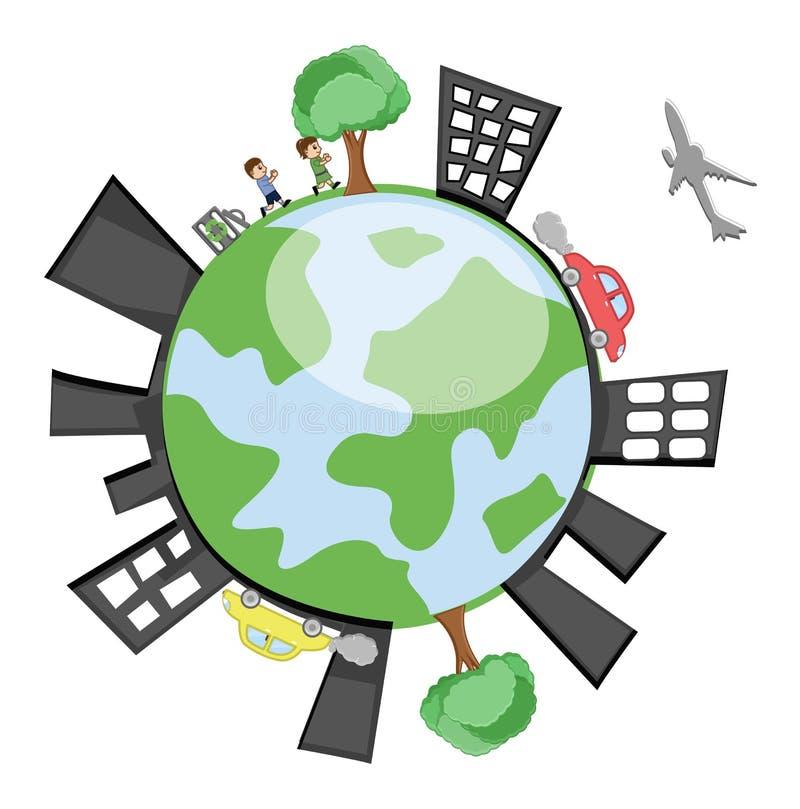 Tierra del vector que muestra los edificios, niños, árboles ilustración del vector