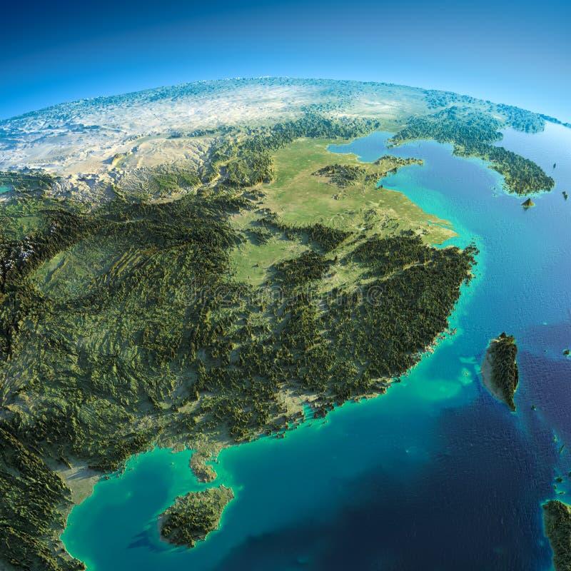 Tierra detallada. China del este y Taiwán libre illustration