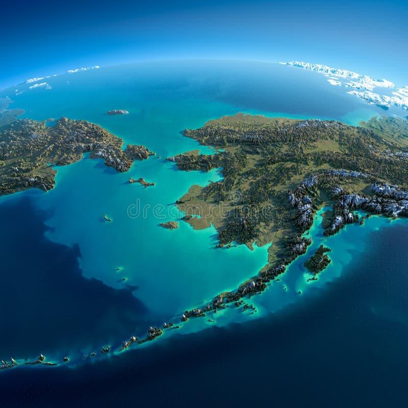 Tierra detallada. Chukotka, Alaska stock de ilustración