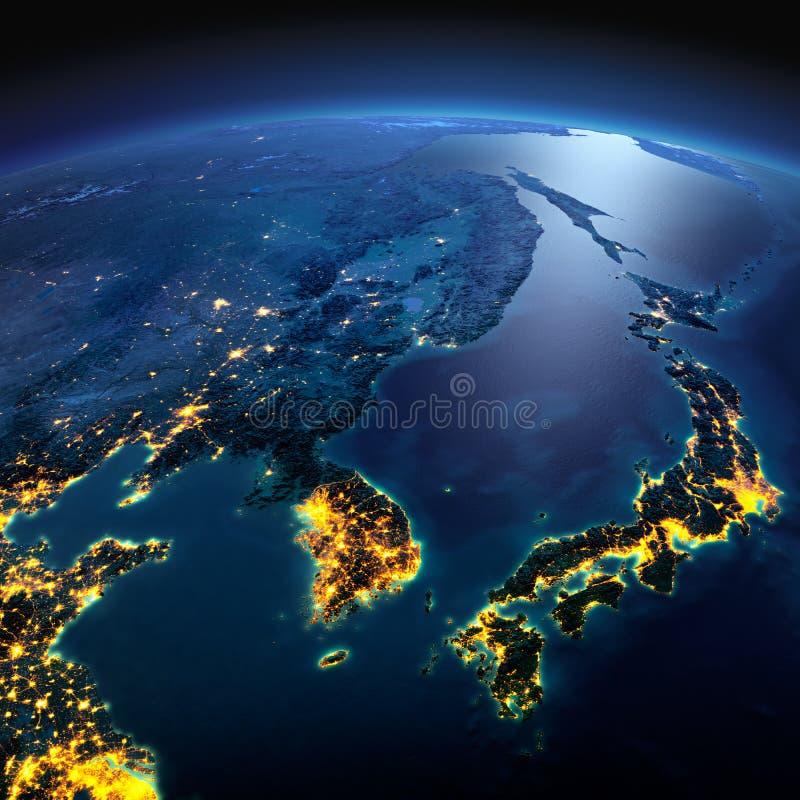 Tierra detallada Corea y Jap?n en una noche iluminada por la luna stock de ilustración