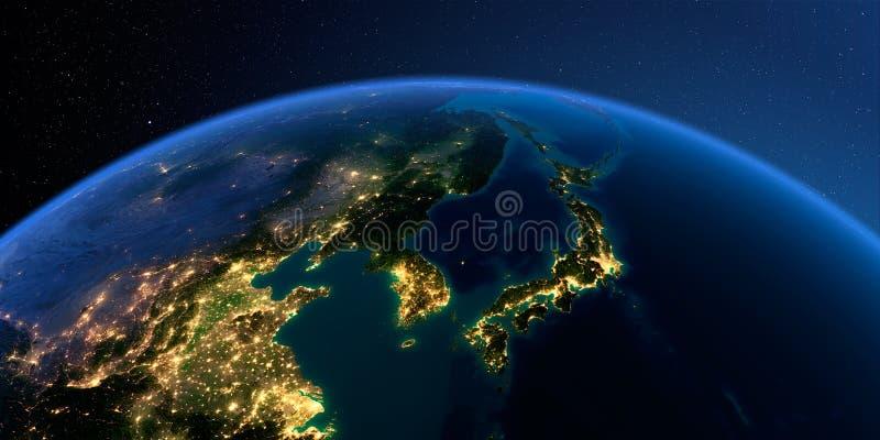 Tierra detallada Corea y Jap?n stock de ilustración