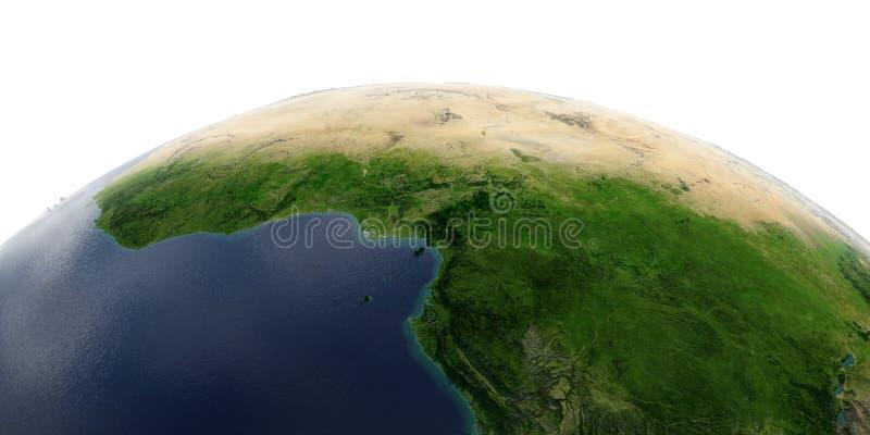 Tierra detallada en el fondo blanco ?frica Países del golfo de Guinea ilustración del vector