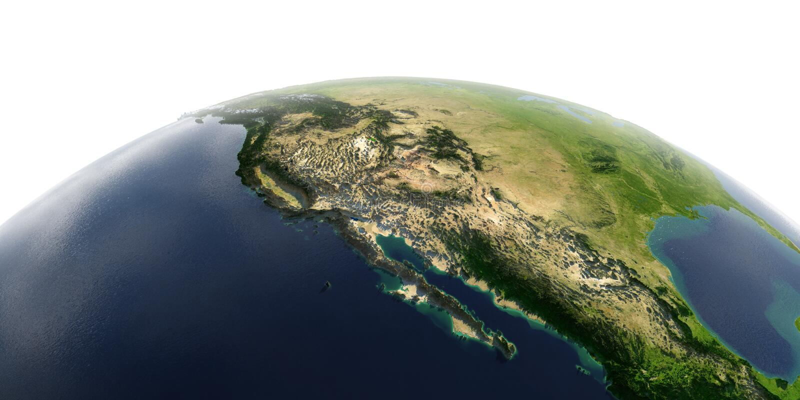 Tierra detallada en el fondo blanco El golfo de California, M?xico y los estados de los E S estados ilustración del vector
