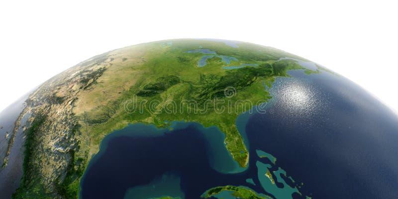 Tierra detallada en el fondo blanco El Golfo de M?xico y la Florida libre illustration