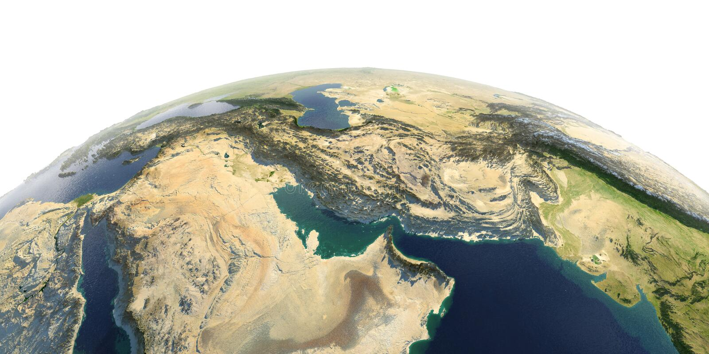 Tierra detallada en el fondo blanco Golfo P?rsico stock de ilustración
