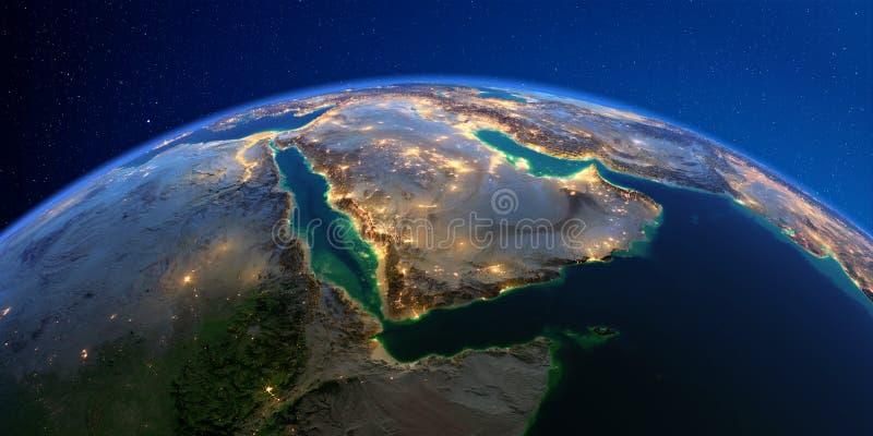 Tierra detallada en la noche La Arabia Saudita ilustración del vector