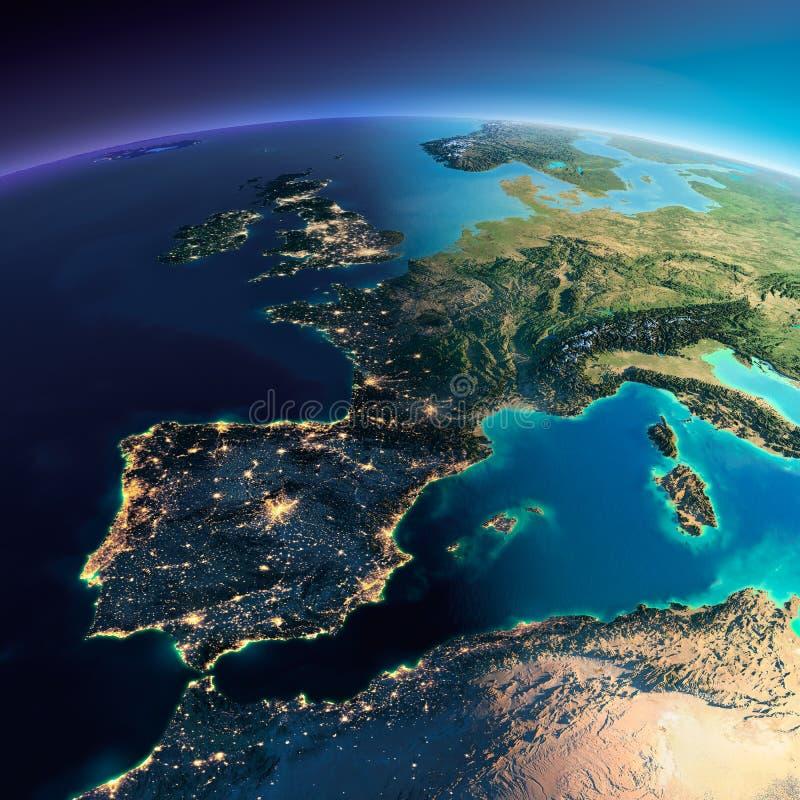 Tierra detallada España y el mar Mediterráneo ilustración del vector