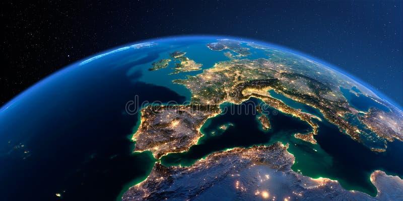 Tierra detallada Espa?a y el mar Mediterr?neo stock de ilustración