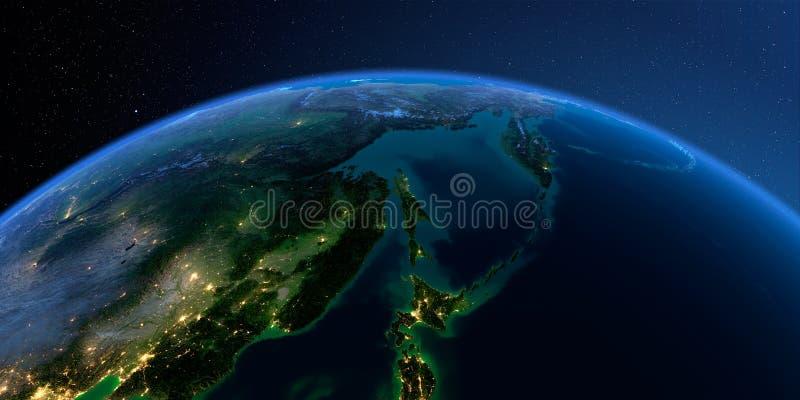 Tierra detallada Extremo Oriente ruso, el mar de Ojotsk en una noche iluminada por la luna ilustración del vector