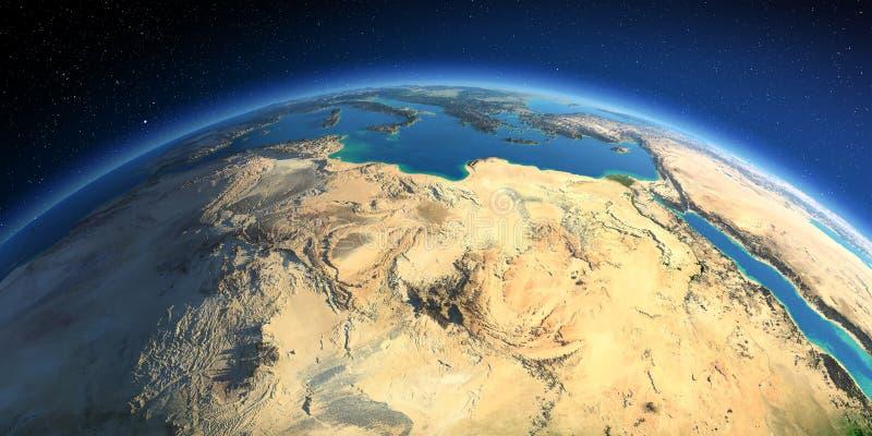 Tierra detallada ?frica del Norte Libia y el mar Mediterráneo