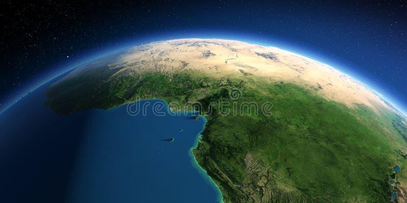 Tierra detallada ?frica Países del golfo de Guinea stock de ilustración
