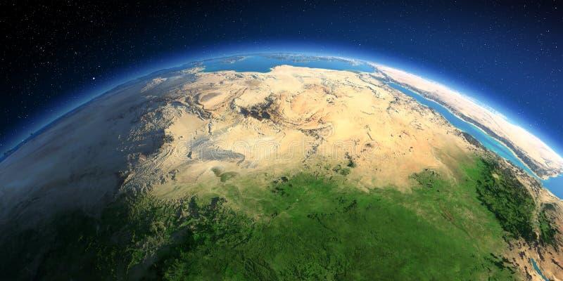 Tierra detallada ?frica y Europa Las aguas del mar Mediterr?neo