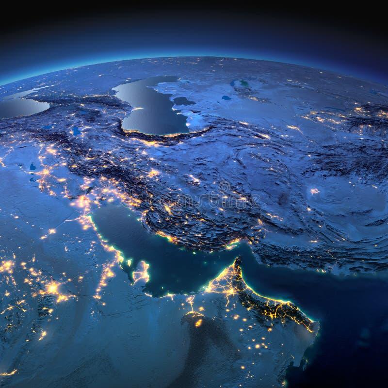 Tierra detallada Golfo P?rsico en una noche iluminada por la luna ilustración del vector