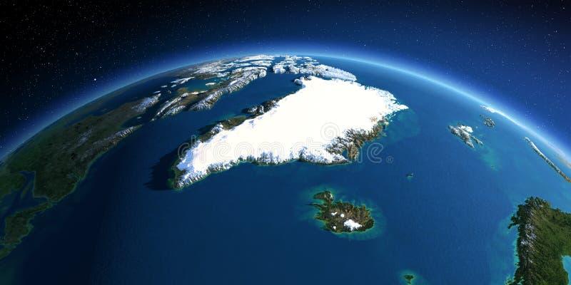 Tierra detallada Groenlandia e Islandia ilustración del vector