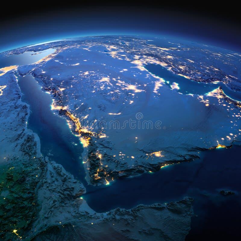 Tierra detallada La Arabia Saudita en una noche iluminada por la luna imagenes de archivo