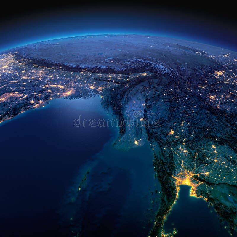 Tierra detallada La zona oriental de la India, Bangladesh, Nepal, Bhut?n, Myanmar, al oeste de Tailandia en una noche iluminada p libre illustration