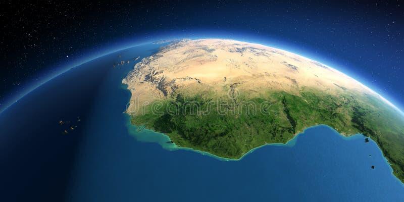 Tierra detallada Países de Africa Occidental