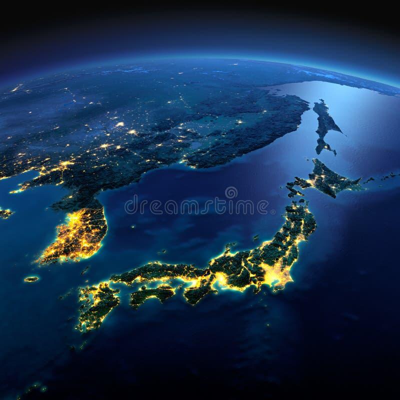 Tierra detallada Parte de Asia, de Japón y de Corea, mar japonés en a stock de ilustración