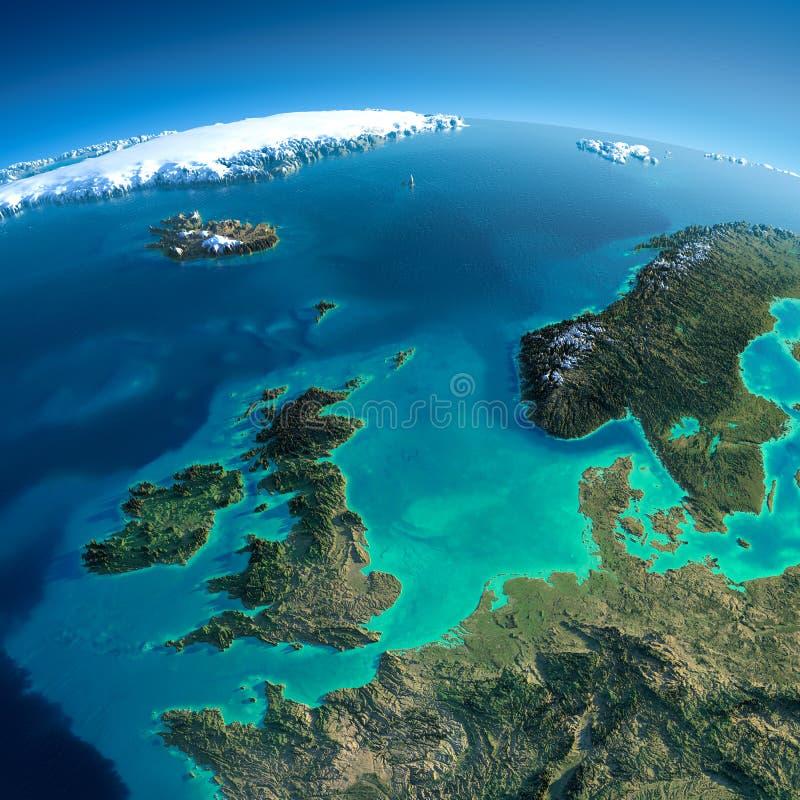 Tierra detallada. Reino Unido y el Mar del Norte ilustración del vector