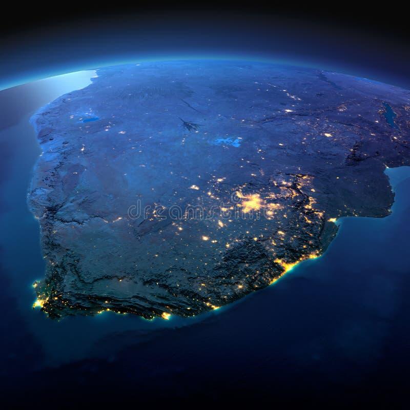Tierra detallada Suráfrica en una noche iluminada por la luna ilustración del vector