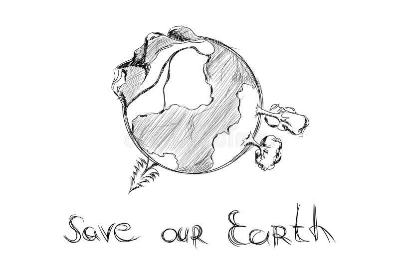 Tierra drenada mano de la historieta ilustración del vector