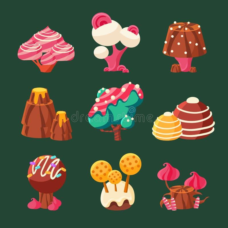 Tierra dulce del caramelo de la historieta Ilustración del vector libre illustration