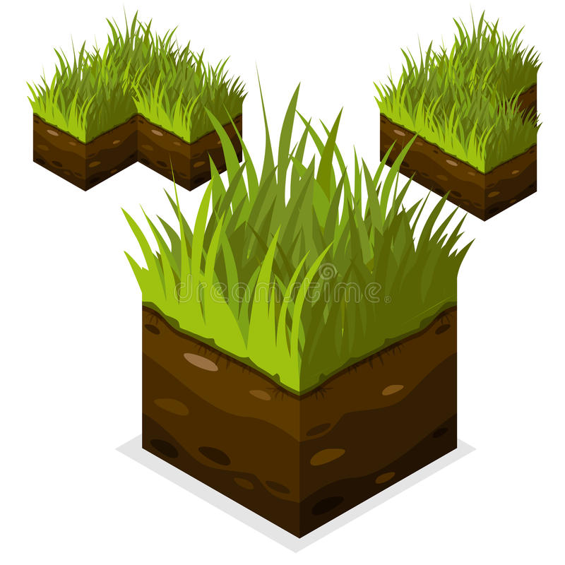 Tierra e hierba isométricas del cubo del paisaje del bloque del juego libre illustration