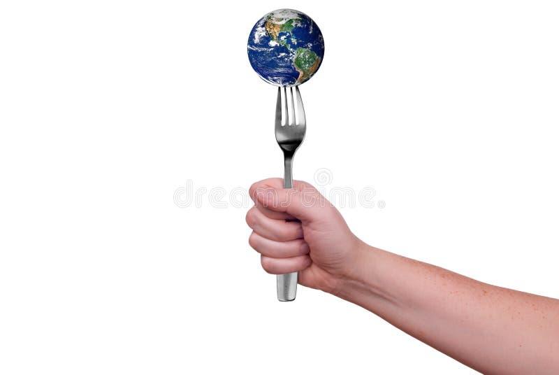 Tierra en fork imágenes de archivo libres de regalías