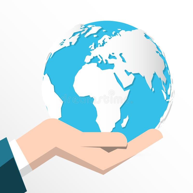 Tierra en la mano humana aislada ilustración del vector