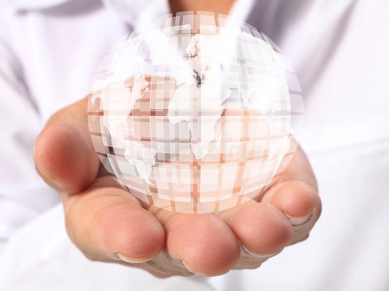 Tierra en mano humana stock de ilustración