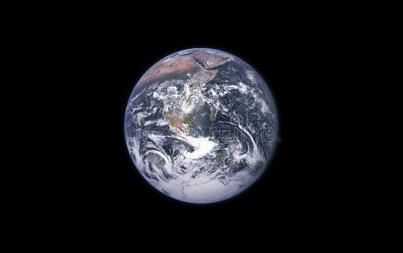 Tierra en un fondo negro aislado Elemento de la tierra del planeta para los diseñadores fotografía de archivo