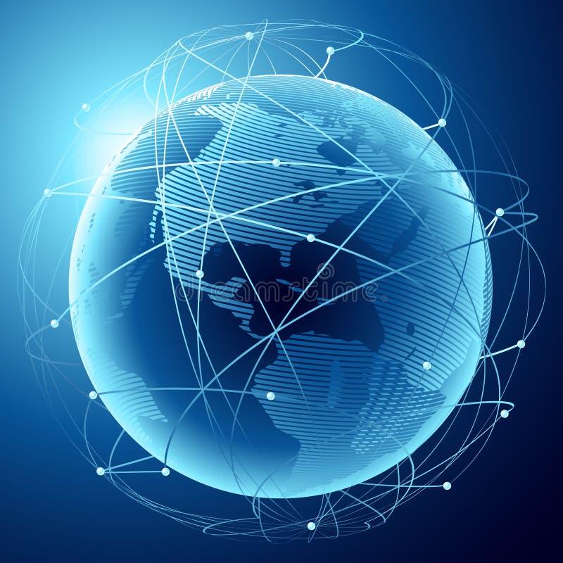 Tierra en un Web de satélites stock de ilustración