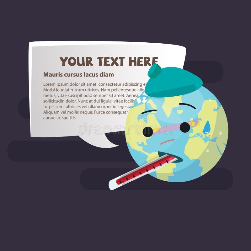 Tierra enferma del planeta que lleva un withThermometer de la bolsa de hielo ahorre el worl ilustración del vector
