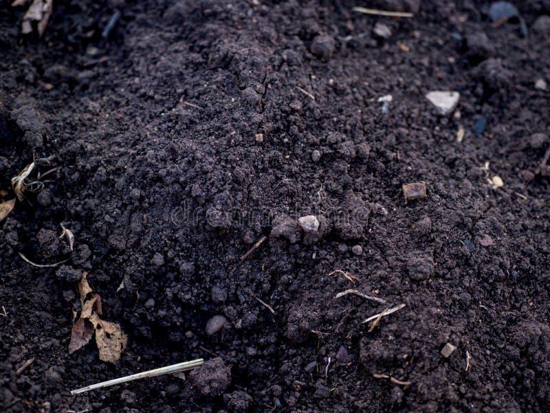 Tierra fértil negra con desperdicios y piedras fotos de archivo libres de regalías