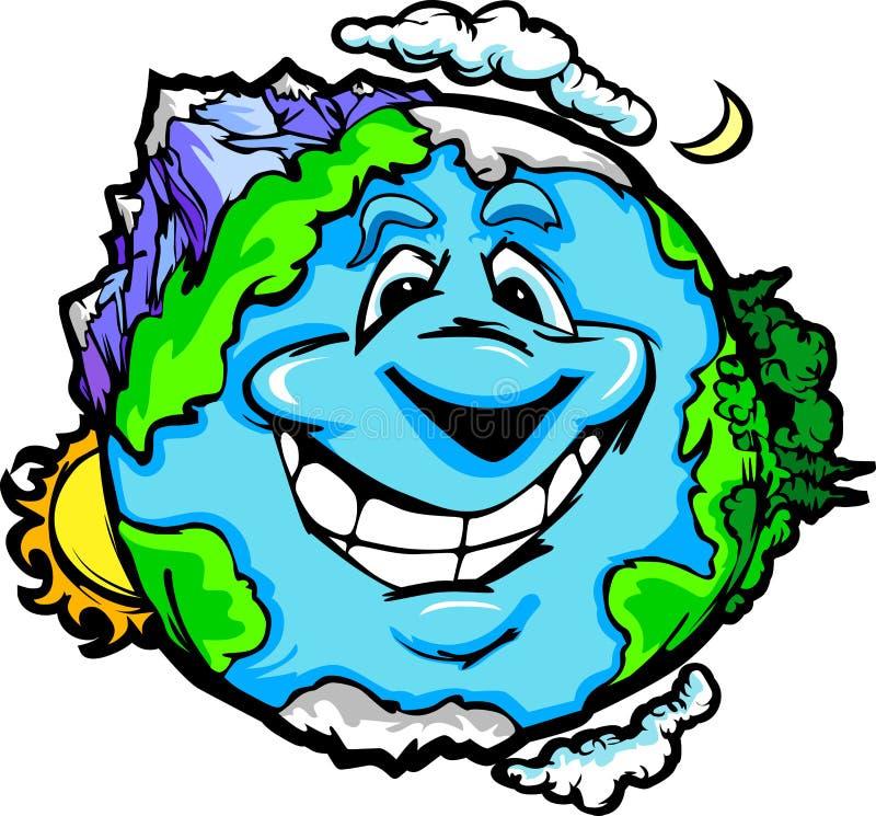Tierra feliz del planeta con las montañas y las nubes ilustración del vector
