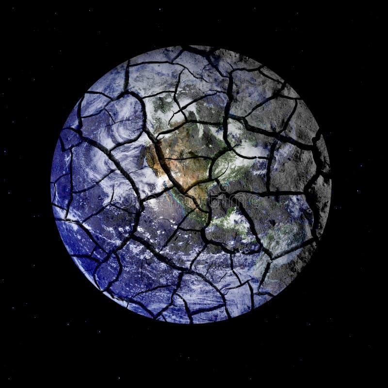 Tierra frágil del planeta que se agrieta aparte en espacio exterior stock de ilustración