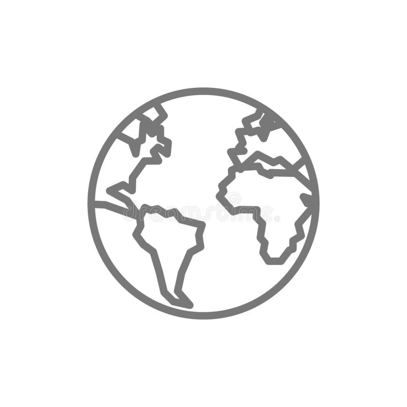 Tierra, globo, l?nea icono del planeta stock de ilustración