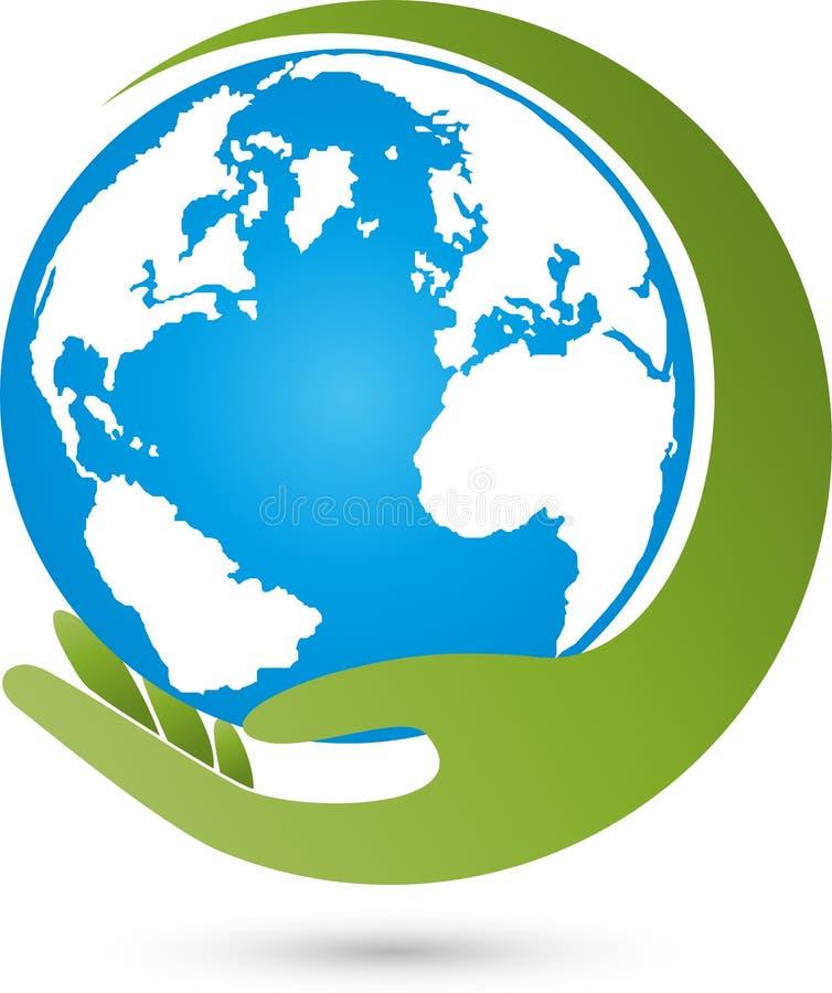Tierra, globo, globo y mano, logotipo del mundo de la tierra stock de ilustración