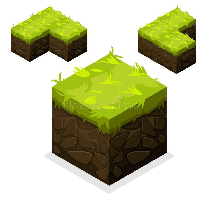 Tierra interminable e hierba del cubo isométrico del paisaje stock de ilustración