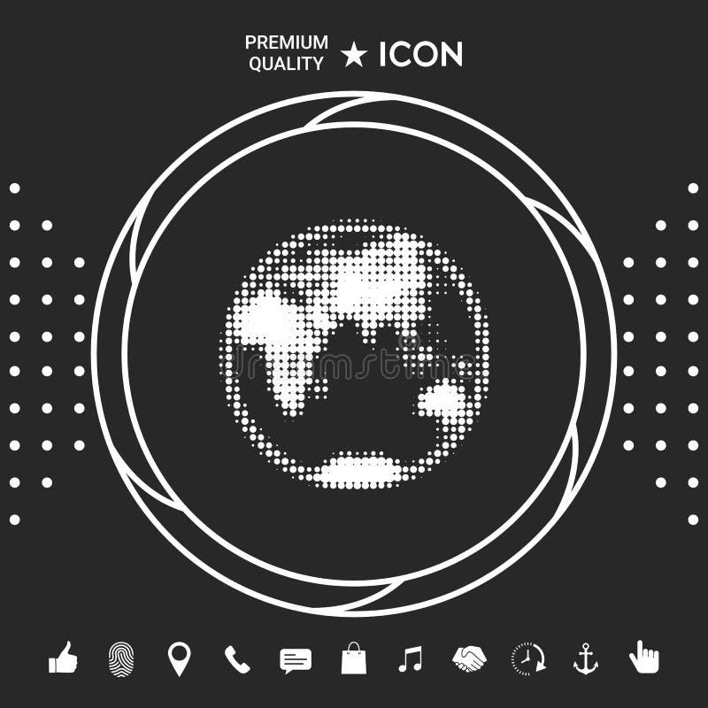 Tierra - logotipo de semitono stock de ilustración